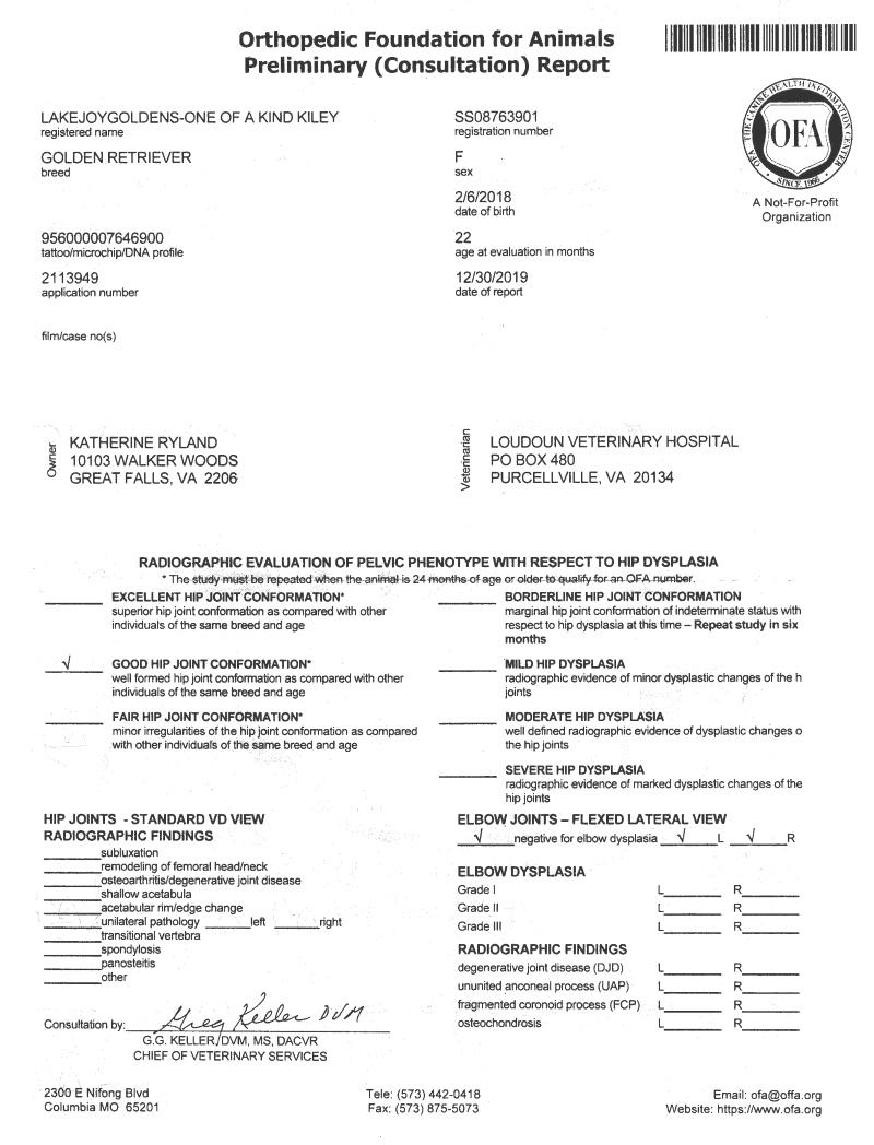 Kiley's Hip + Elbow Preliminary Certification